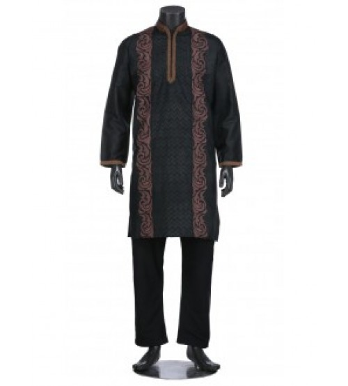 Black Appliquéd and Erri Embroidered Silk Panjabi Pajama Set