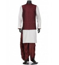 Maroon and Ivory Cotton Panjabi Dhoti Coaty Set