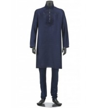Midnight Blue Erri Embroidered Art Silk Panjabi Pajama Set