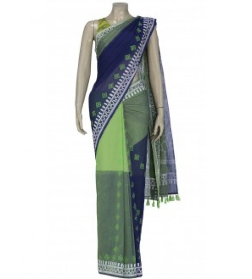 Arong Blue and Green Printed Cotton Saree