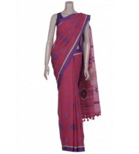 Arong Fuchsia Embroidered and Appliquéd Cotton Saree