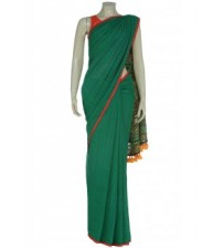 Arong Green Embroidered Cotton Saree