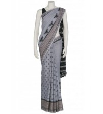 Arong Grey Tie-Dyed and Embroidered Cotton Saree