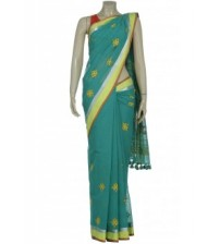 Arong Turquoise Embroidered and Appliquéd Cotton Saree
