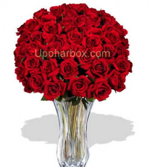 2 doz glass top red rose