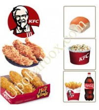 KFC hot wings and chicken stripes with bun and coleslaw