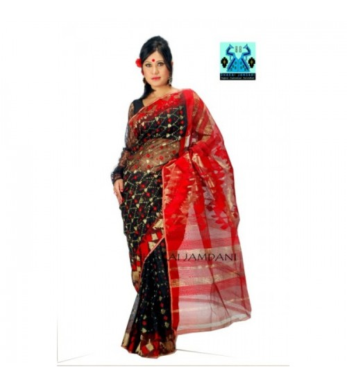 Black Jamdani with Golden motif and Red Paar-Achol (Half Silk)