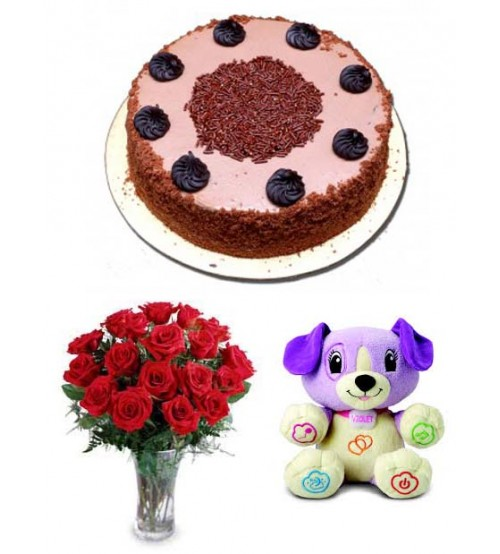 Gift Package with CFC Cake, Tady & Flower