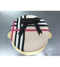 Vanilla cake with chocolate stripes