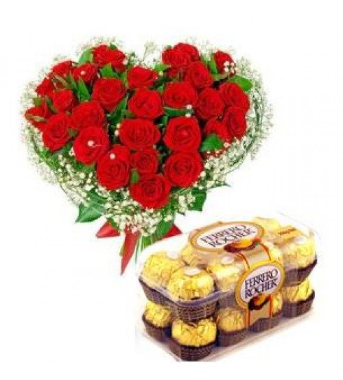 Heart shaped Roses and  Ferrero Rocher Chocolate
